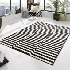 Panel Rug in Black/Cream 160 x 230 cm