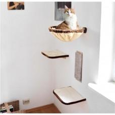Kaķu kāpšanas siena, 4 daļas, bēša-brūna